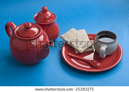 Breakfast on blue table. - stock photo