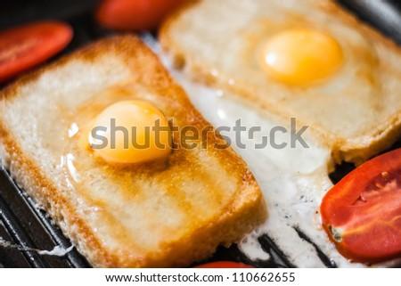 Breakfast on pan - stock photo