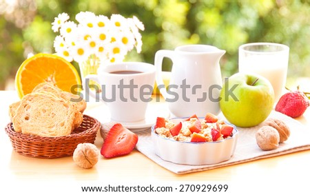 Breakfast outdoors - stock photo