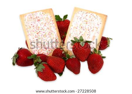 Breakfast pasties with strawberries surrounding - stock photo