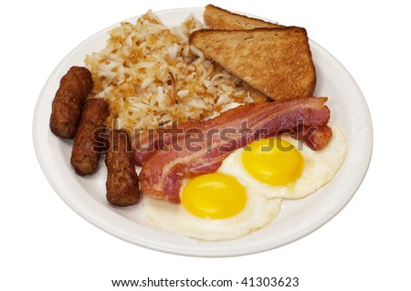Breakfast plate with eggs sunny side up, bacon, link sausage, hash browns, and toast.  Isolated on white background with clipping path. - stock photo