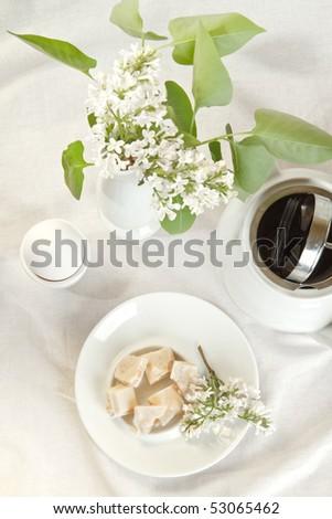 breakfast served in white tones - stock photo