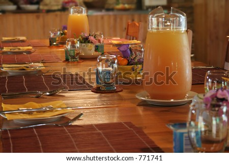 Breakfast table set ready