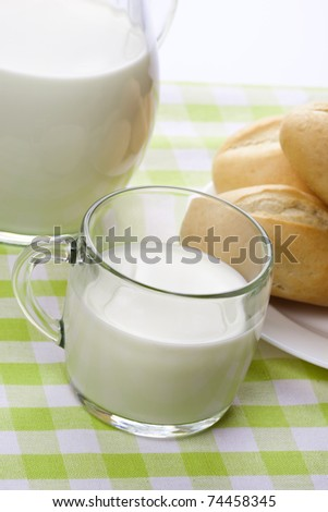 Breakfast table with a glass cup of milk