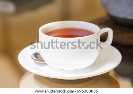 Breakfast tea in a cafe