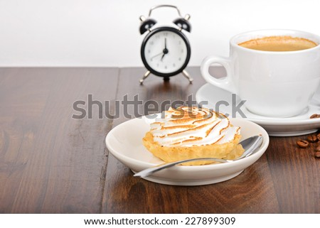 Breakfast time with coffee and cake - stock photo