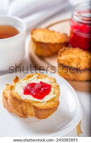 Breakfast - toast, butter, jam, tea
