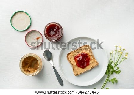 Breakfast Toast with Jam and Peanut Butter  - stock photo