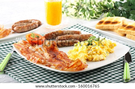 Breakfast typical American on complexbackground - stock photo
