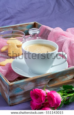 Breakfast Valentine's Day. Tray with coffee and biscuits, selective focus