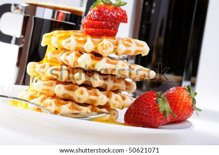 Breakfast - Waffles and strawberries with coffee