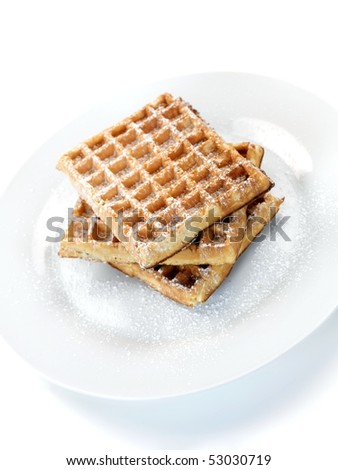 Breakfast waffles isolated against a white background