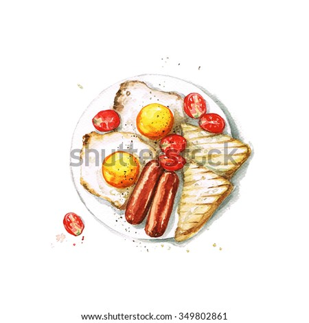 Breakfast - Watercolor Food Collection - stock photo