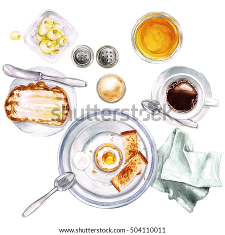 Breakfast. Watercolor Illustration.