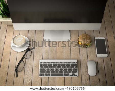 breakfast with a computer, telephone and coffee 3d illustration