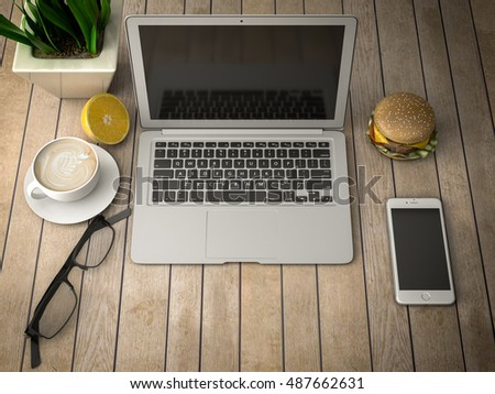 breakfast with a laptop, telephone and coffee 3d illustration