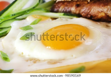 Breakfast with bacon and fried egg - stock photo