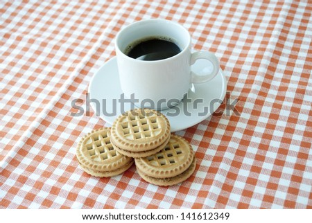 Breakfast with coffee and cookies