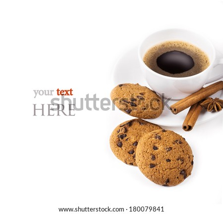 Breakfast with coffee and cookies on table - stock photo