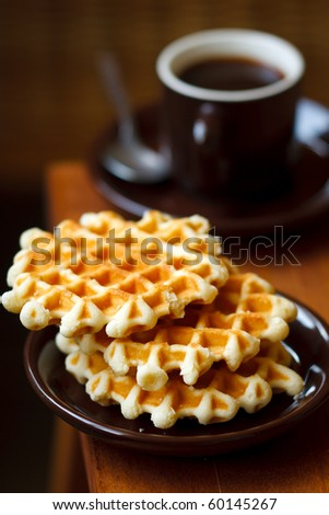 Breakfast with coffee and homemade waffles,shallow focus - stock photo