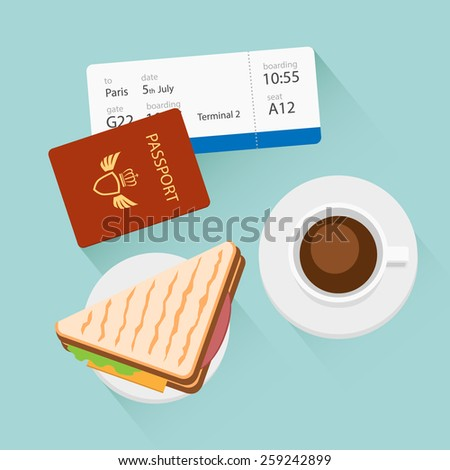 Breakfast with coffee and sandwich at airport