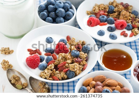 breakfast with granola, berries, honey and yogurt on a white table, close-up - stock photo