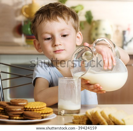 Breakfast with milk - stock photo
