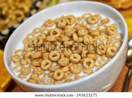 Breakfast with milk and cereals - stock photo