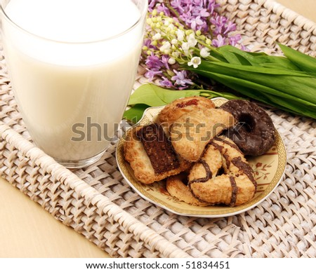 Breakfast with milk and cookies - stock photo