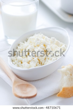 Breakfast with milk and fresh cottage cheese in the white bowl - stock photo