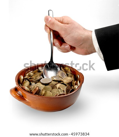 breakfast with money coins - stock photo