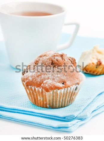 breakfast with muffin - stock photo