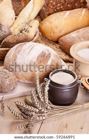 Breakfast with tasty, healthy food on wooden table! - stock photo