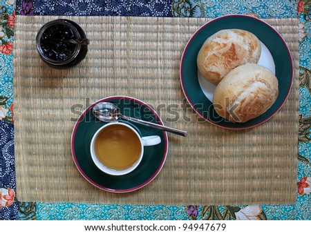 Breakfast with tea, bread and jam
