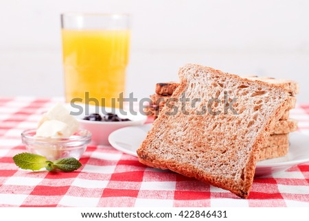 Breakfast with toast - stock photo