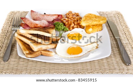 Breakfast with toasts eggs bacon beans and hash browns - stock photo