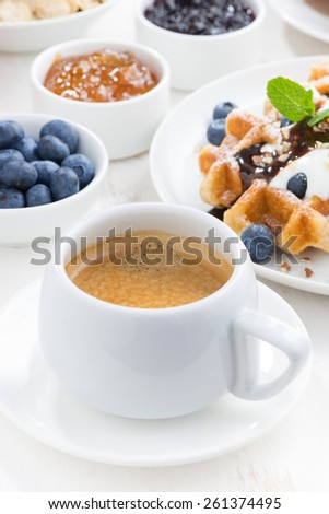 breakfast with waffles, fresh blueberries, cream and chocolate sauce, vertical, close-up