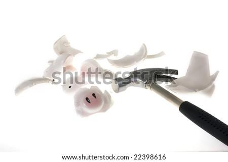 Breaking a piggy bank - stock photo