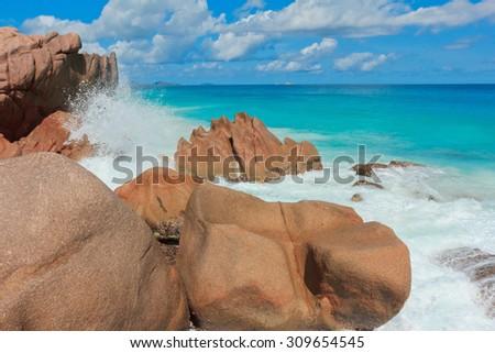 Breaking Big Waves Sunlit Sea Foam  - stock photo