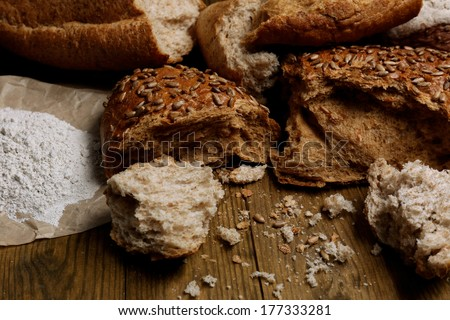 Breaking bread close up