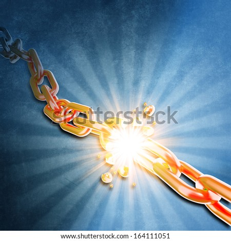Breaking chain. Power concept. - stock photo