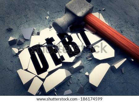 Breaking debt - stock photo