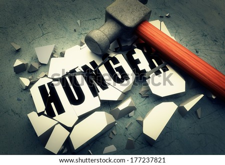 Breaking hunger - stock photo