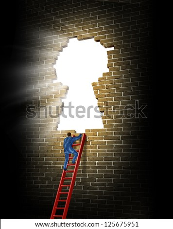 Breaking in to opportunity as a business man climbing a broken brick wall in the shape of a glowing light keyhole with a red ladder as a concept of success and winning. - stock photo