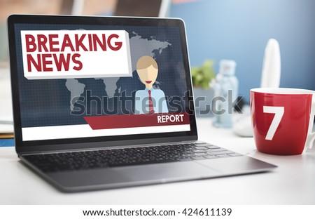 Breaking News Article Broadcast Headline Journal Concept - stock photo