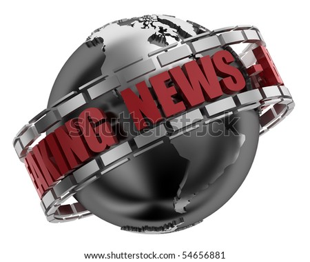 Breaking News Globe in 3D including clipping path - stock photo