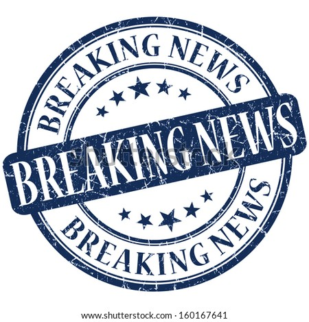 breaking news grunge blue round stamp - stock photo