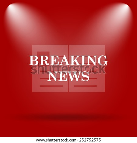 Breaking news icon. Flat icon on red background.  - stock photo