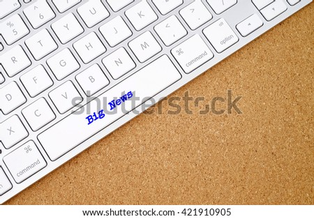 Breaking News on computer keyboard background with copyspace area.  - stock photo