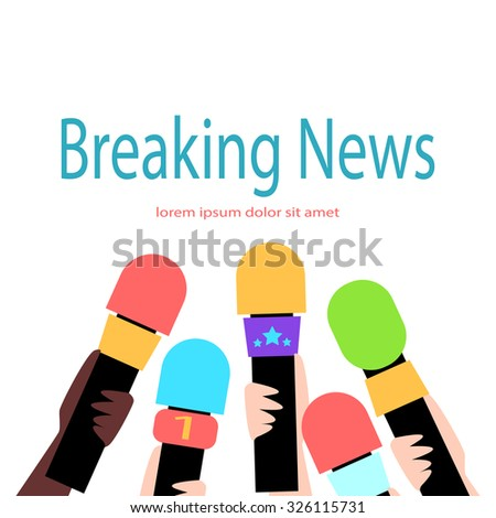 Breaking news. Reporters interviewed. Five hands with microphones. Flat style. - stock photo
